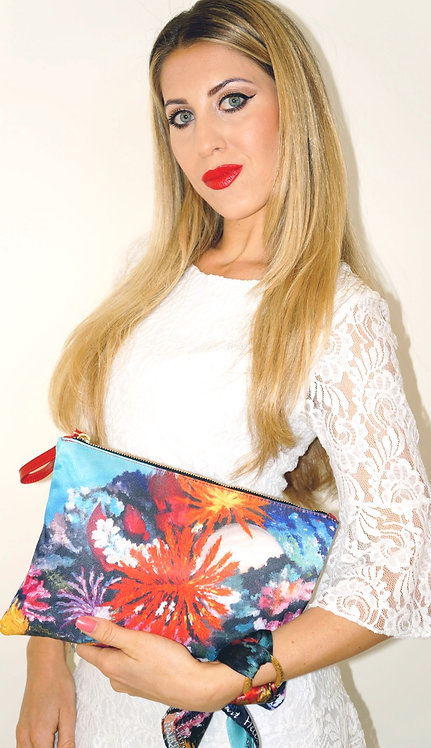 Colorful Corals clutch bag & silk bracelet