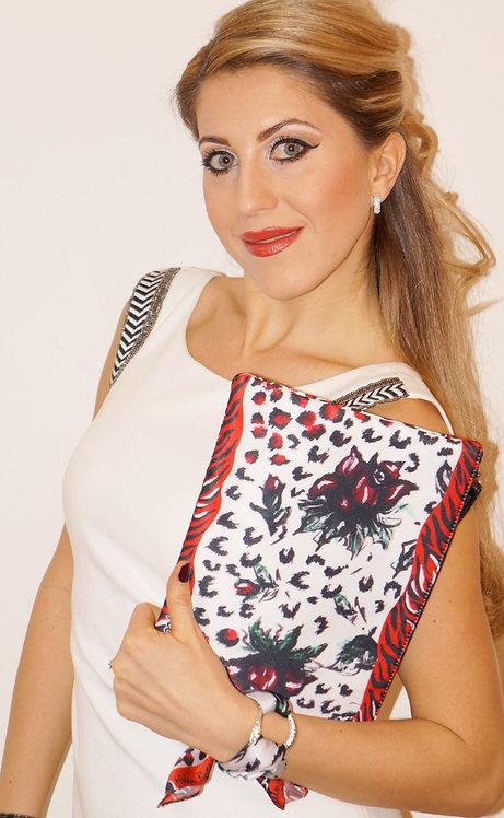 Red rose clutch bag & silk bracelet