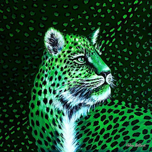 Green Tiger silk scarf 110x110 cm