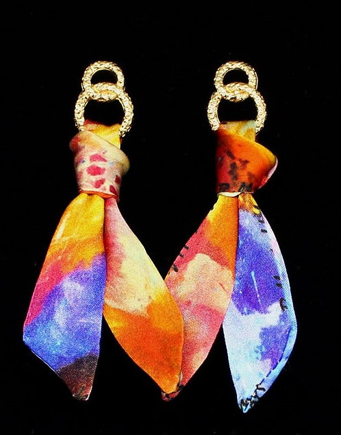 Blooming Iris silk tie earring