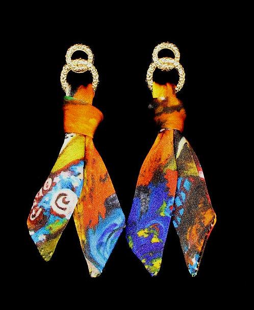 Tropical Girl silk tie earring