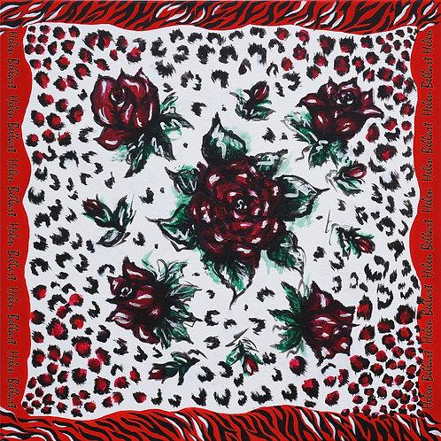 Red rose silk scarf 110x110 cm
