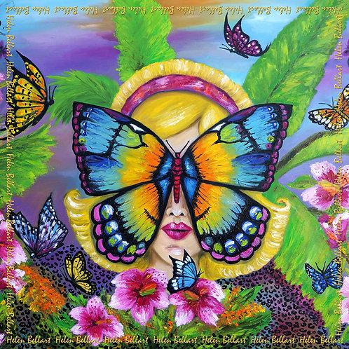 Butterfly silk scarf 110x110 cm
