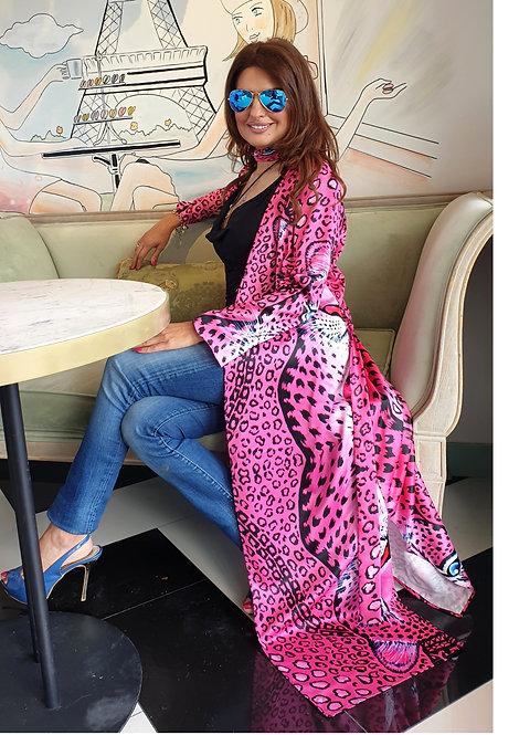 Pink Leopard long kimono-cardigan