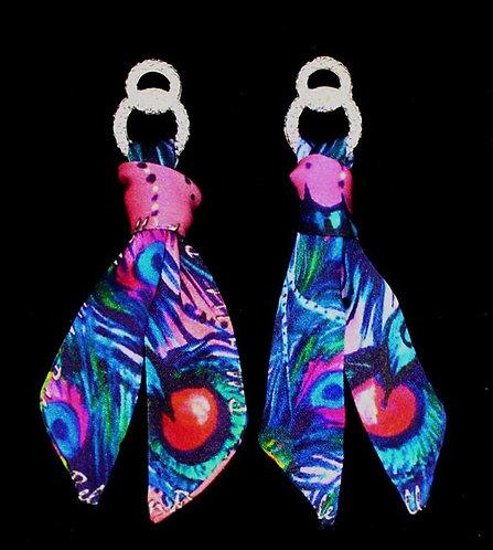 Peacock Mask silk tie earring