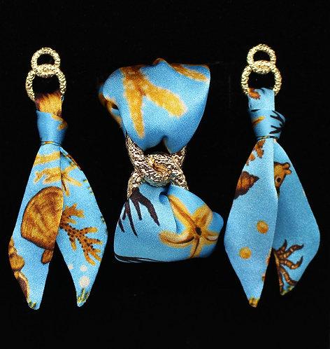 Sea treasure silk tie earring & bracelet