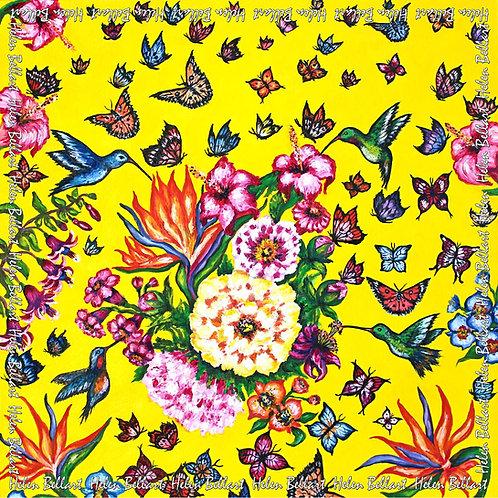 Butterfly Paradise silk scarf 110x110 cm