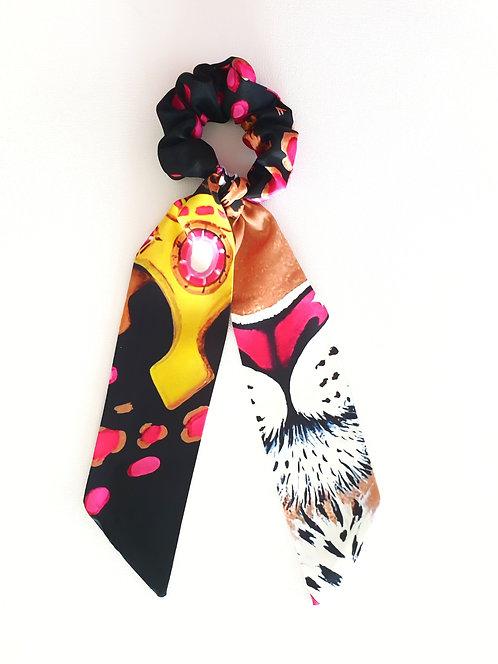 Gold Leopard bow scrunchie