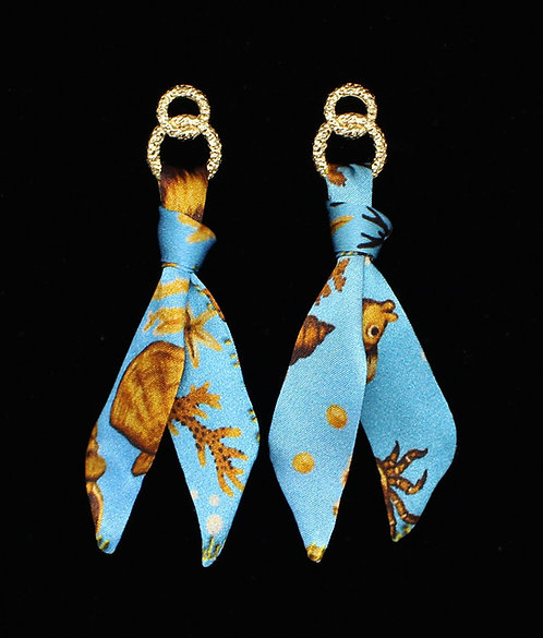 Sea Treasure silk tie earring