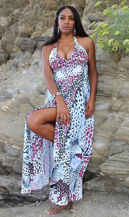 White Leopard long dress