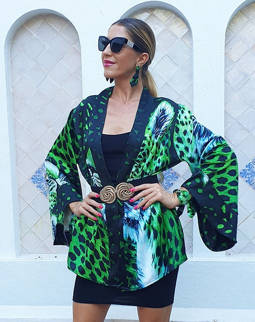 Green Tiger kimono blazer