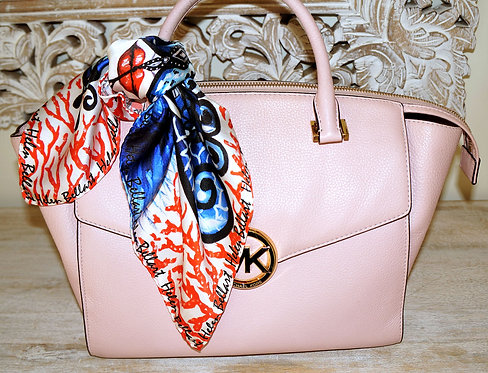 Coral Butterfly silk scarf 45x45 cm