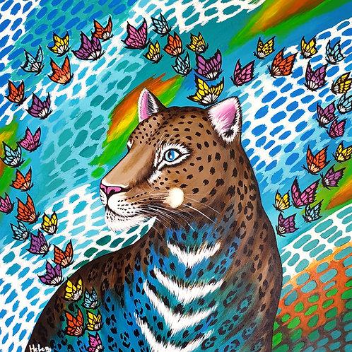 Colorful Butterflies & Leopard artwork