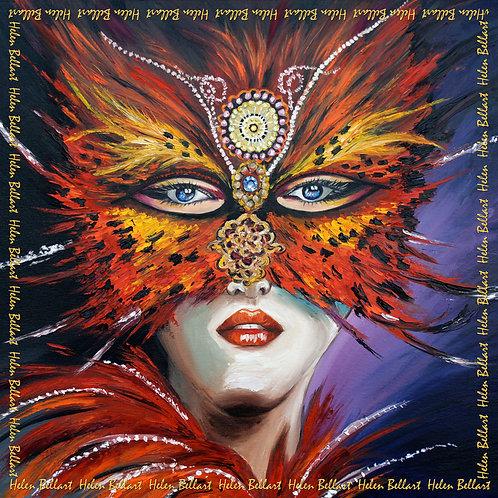 Venetian mask silk scarf 110x110 cm