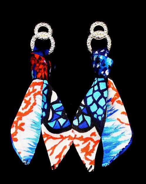Coral Butterfly silk tie earring