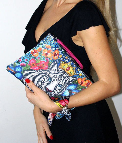 Tiger clutch bag & silk bracelet