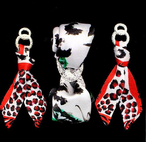 Red Rose silk tie earring & bracelet