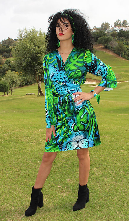 Jungle Leopard crossover dress