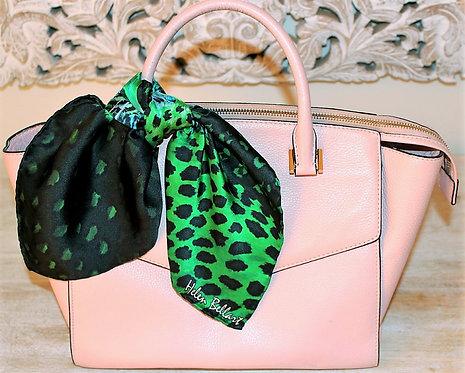 Green Tiger silk scarf 45x45 cm
