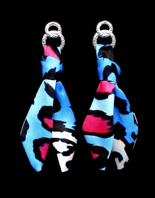 Blue Leopard tie earring