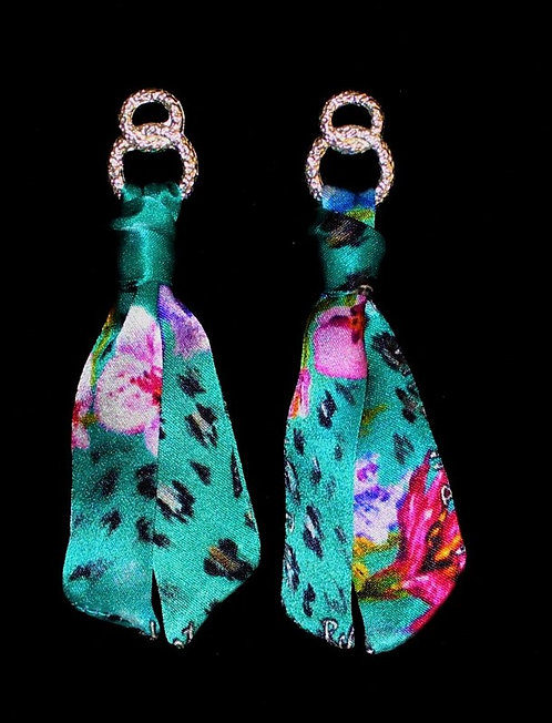 Blue Spring silk tie earring