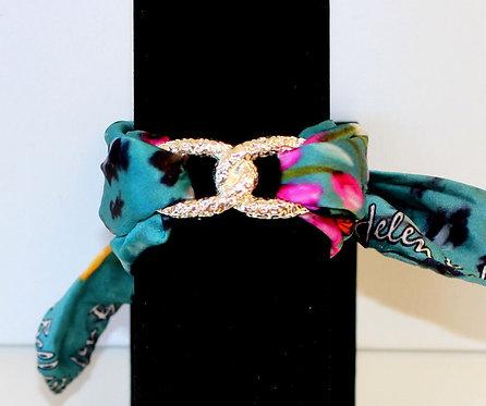 Blue Spring Infinity silk bracelet