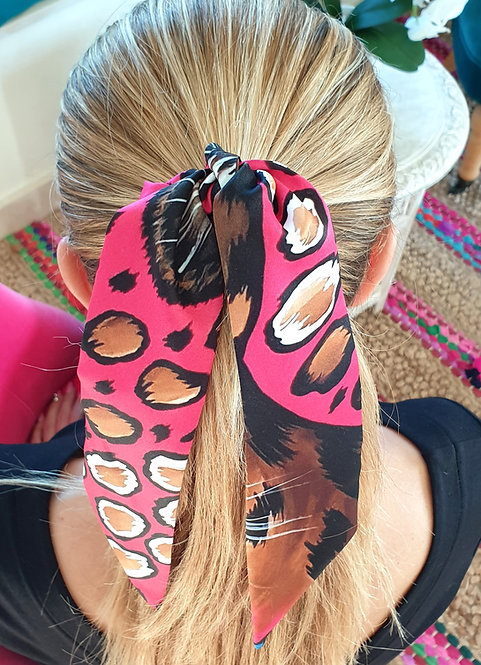 Candy Leopard bow scrunchie