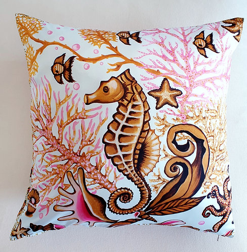 Gold seahorse decorative pillow cover