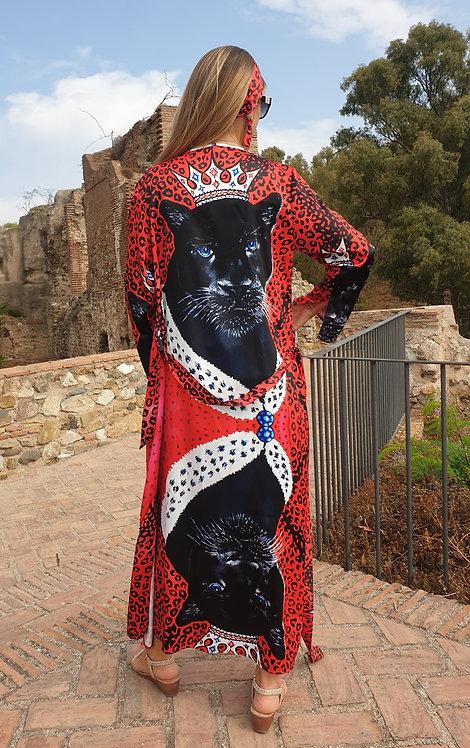 Panther long kimono-cardigan