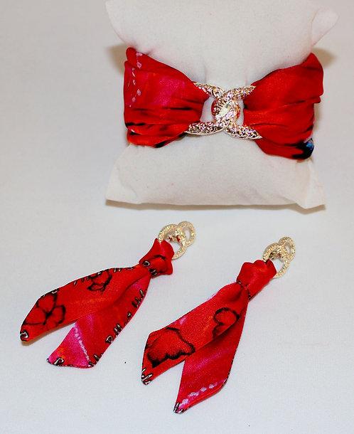 Lady Butterfly silk tie earring & bracelet set