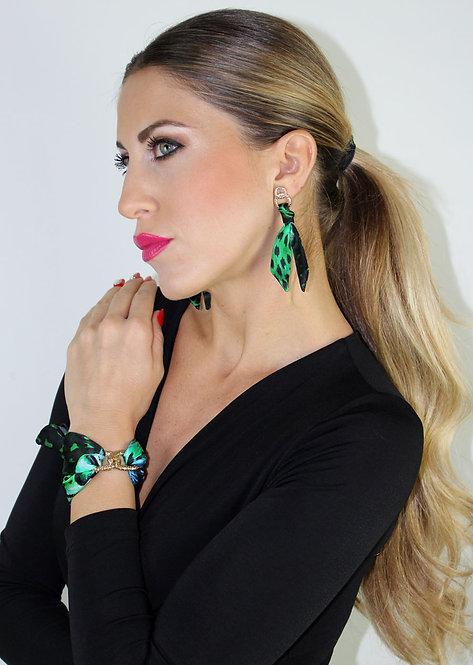 Green Tiger silk tie earring