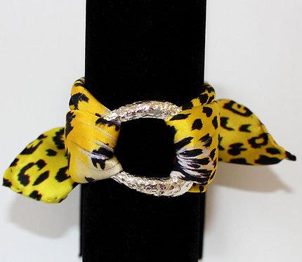 Yellow Leopard silk bracelet