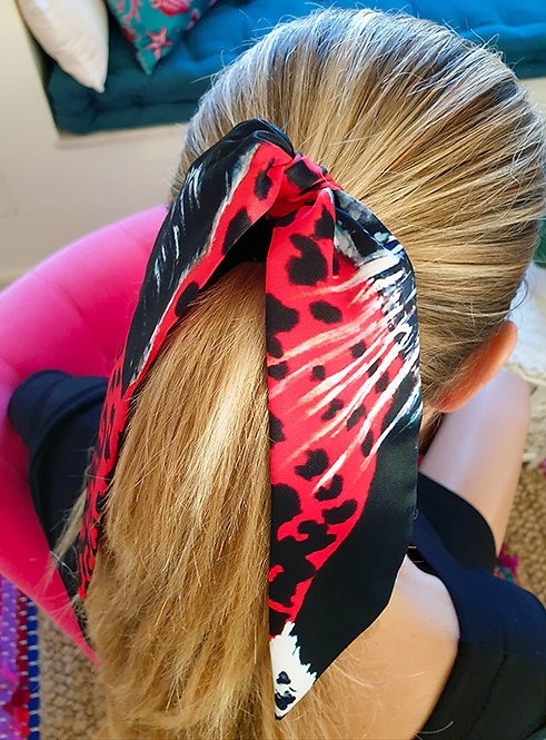 Panther bow scrunchie