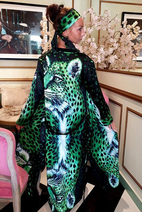 Green Tiger long kimono-cardigan