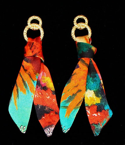Colorful Corals silk tie earring