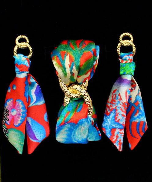 Seahorse silk tie earring & bracelet set