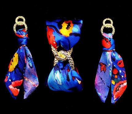 Poppy silk tie earring & bracelet set