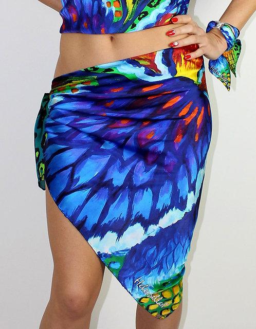 Blue Iris silk pareo 110x110 cm