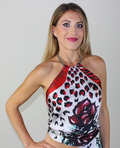 Red Rose silk top