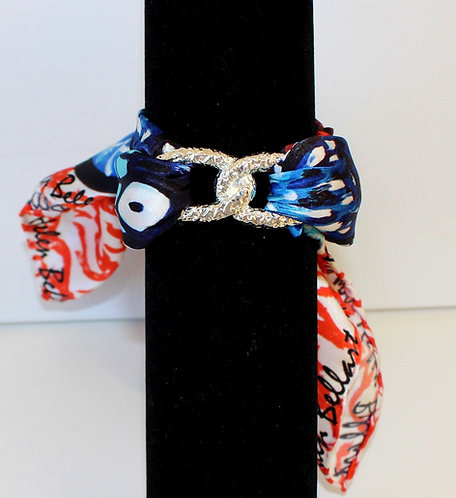 Coral Butterfly Join Infinity silk bracelet