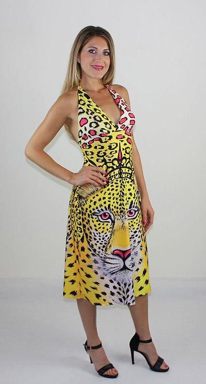 Yellow Leopard backless summer dress