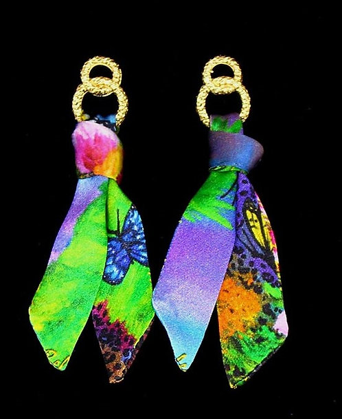 Butterfly silk tie earring