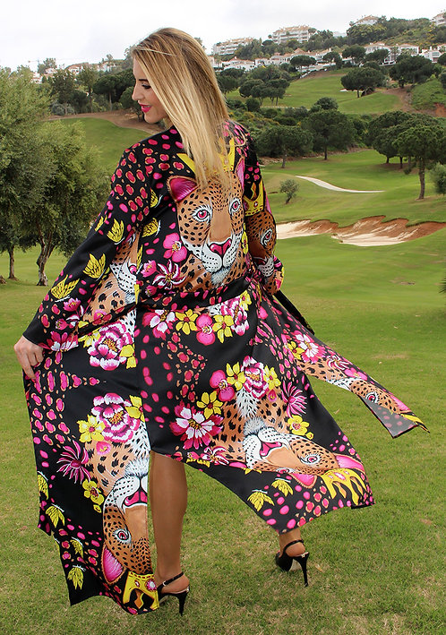 Gold Leopard long kimono-cardigan