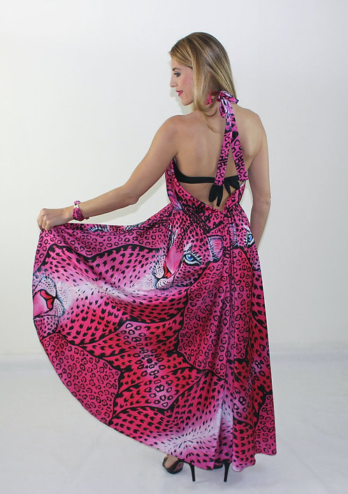Pink Leopard crossover dress with doubleuse