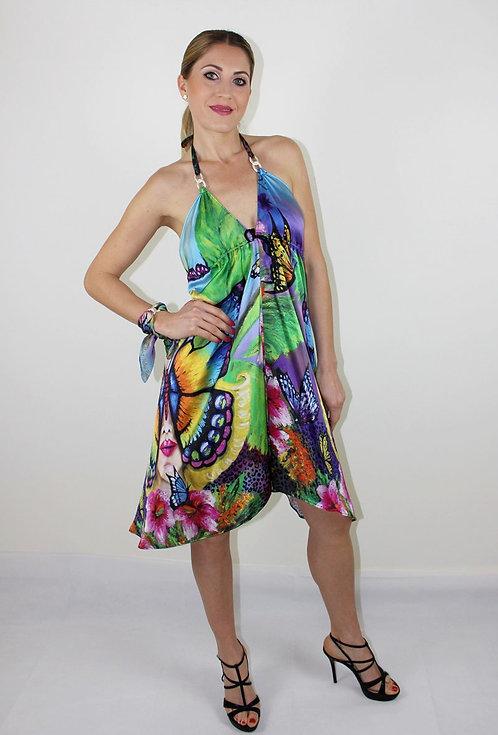 Butterfly silk dress