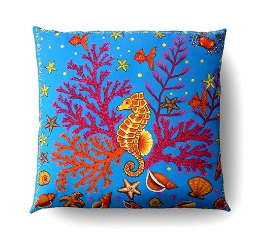 Yellow Seahorse decorative pillow cover