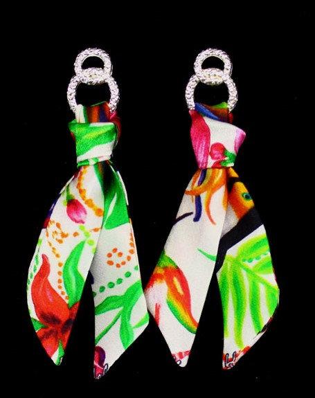 Tropical garden silk tie earring