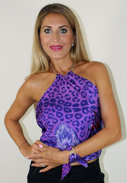 Purple Animal Print silk top