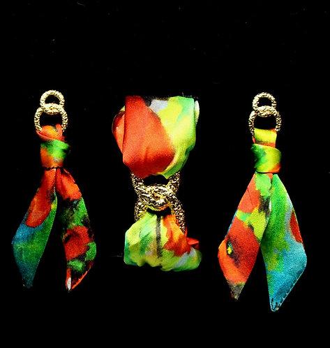Poppies silk tie earring & bracelet set