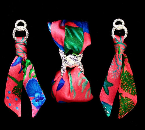 Seafloor silk tie earring & bracelet set